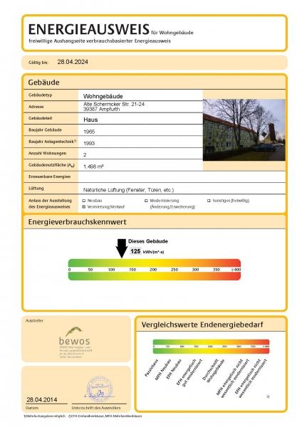 Wohnung/Mietwohnung in Oschersleben/OT Ampfurth